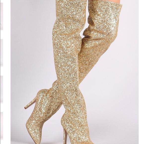 Gold Glitter Overtheknee Boots Nwt
